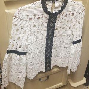 ChicWish White/Black Crochet Top